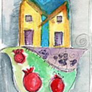 Watercolor Hamsa  Art Print by Linda Woods