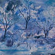 Watercolor - Icy Winter Landscape Art Print