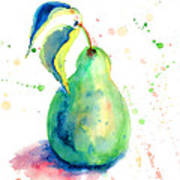 Watercolor Illustration Of Pear  Art Print