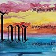 Watercolor M And Serenity Prayer Art Print
