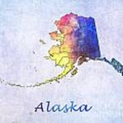 Watercolor Map Of Alaska      United States Art Print