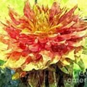 Watercolor Of Dreamy Dahlia Art Print