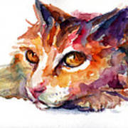 Watercolor Orange Tubby Cat Art Print