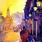 Watercolor Painting Of Street And Church Morelia Mexico Art Print