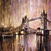 Watercolor Painting Of Tower Bridge London England Art Print