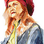 Watercolor Portrait Of An Old Lady Art Print
