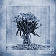 Watercolour Tulips In Blue Print by John Edwards