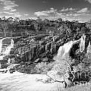 Waterfall Black And White Art Print