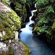 Waterfall, Glacier National Park Art Print