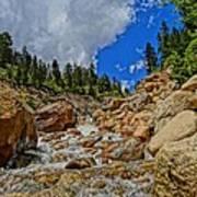 Waterfall In The Rockies Art Print