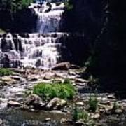 Waterfall Into The Stream Art Print