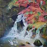 Japanese Waterfall Art Print