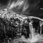 Waterfalls Childs National Park Painted Bw   Art Print