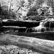 Waterfalls Mill Black N White Art Print