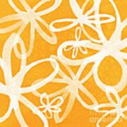 Waterflowers- Orange And White Art Print