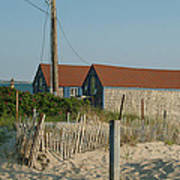 Waterfront Beach Cottages Art Print