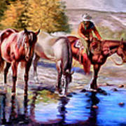 Watering The Horses Art Print