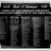 Waterloo Roll Of Honor 1914 1918 Art Print