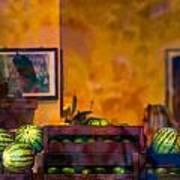 Watermelons On The Window Sill Art Print
