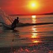 Waterskiing At Sunset Art Print
