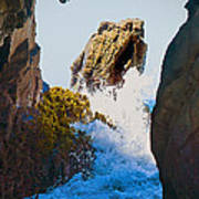 Wave Through The Cave At Pfiffer Beach In Big Sur Art Print