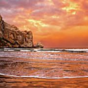 Waves Breaking On Beach At Sunrise Art Print