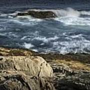 Waves Crashing Against The Shore In Acadia National Park Art Print