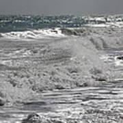 Waves Crashing At Sunset Art Print