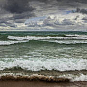 Waves Crashing On The Shore In Sturgeon Bay At Wilderness State Park Art Print