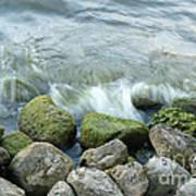 Waves On Mossy Rocks 2 Art Print