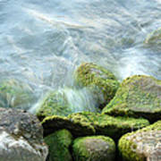 Waves On Mossy Rocks Art Print