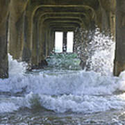 Waves Under The Pier Portrait Art Print