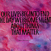 We Become Silent Art Print by Elissa Barr