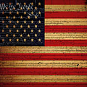 We The People - The Us Constitution With Flag - Square V2 Art Print