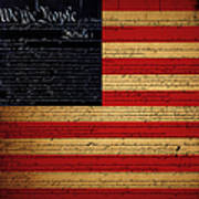 We The People - The Us Constitution With Flag - Square Art Print by Wingsdomain Art and Photography