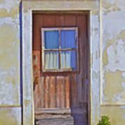 Weathered Rustic Red Wood Door Of Portugal Art Print