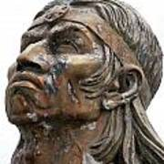 Weathered Statue Of Inca Warrior Art Print