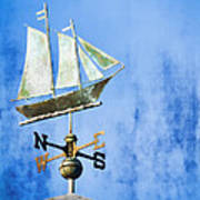Weathervane Clipper Ship Art Print by Carol Leigh