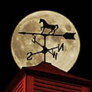 Weathervane Before The Moon Art Print