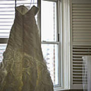 Wedding Dress And Veil By The Window Art Print
