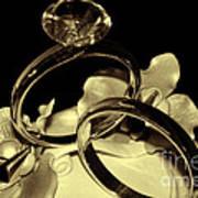 Wedding Rings Cake Top Blk Antiqued Art Print