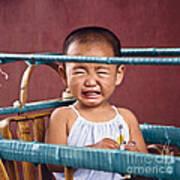 Weeping Baby In His Buggy Art Print