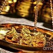 Weighing Gold Art Print