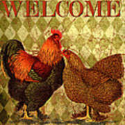 Welcome Rooster-61412 Art Print