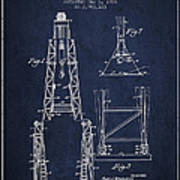 Well Drilling Apparatus Patent From 1960 - Navy Blue Art Print