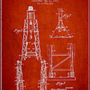 Well Drilling Apparatus Patent From 1960 - Red Art Print