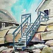 Wells Beach Beach Stairs Art Print by Scott Nelson