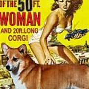 Welsh Corgi Pembroke Art Canvas Print - Attack Of The 50ft Woman Movie Poster Art Print