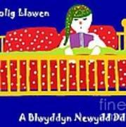 Welsh Snowman Bedtime  Art Print