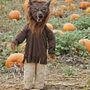 Werewolf In The Pumpkin Patch Art Print